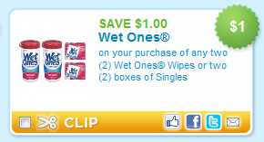 Wet Ones Wipes Coupon