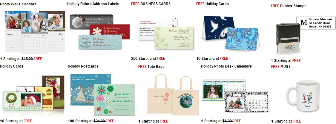 Vistaprint FREE Holiday Gifts