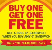 Subway BOGO Breakfast Sandwiches