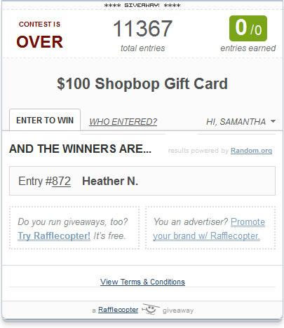 Shopbop Winner