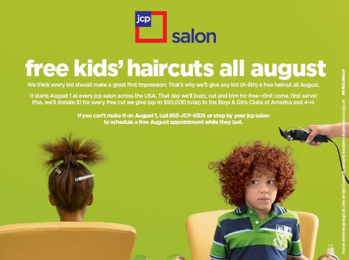 Free Kids Haircut at JCPenneys