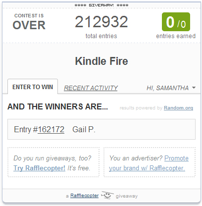 Kindle Fire Giveaway Winner