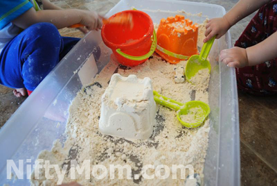 Making castles with moon sand