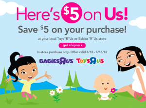 Toys R Us $5 off Coupon August