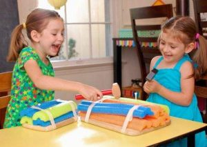 Using Pool Noodles as Indoor Play