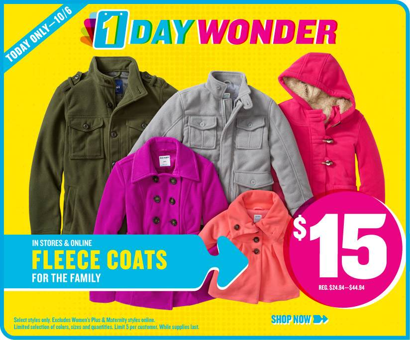 Old Navy $15 Fleece Sale