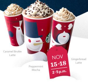 BOGO FREE Starbucks Holiday Drinks November