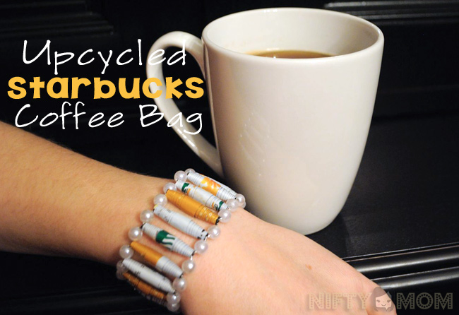 How to Upcycle a Starbucks Coffee Bag into a Bracelet #DeliciousPairings