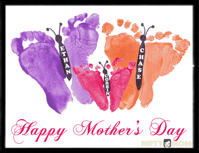 Toddler Footprint Butterflies Mother S Day Gift Idea