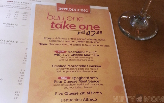 Menu For Olive Garden: Olive Garden's 'Buy One, Take One' Promotion