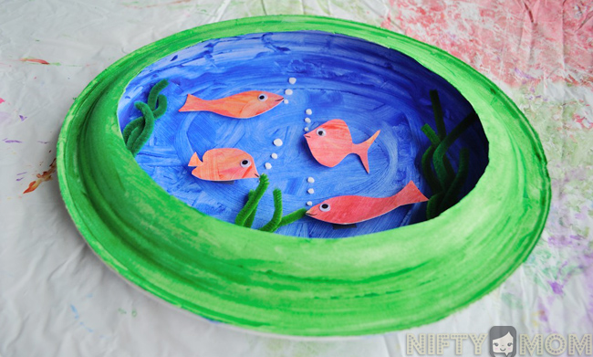 3D Fish Tank Craft using Paper Plates