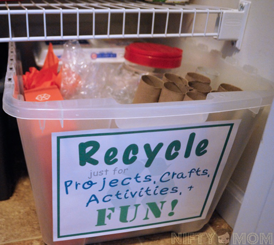 Create a Recycle Bin just for projects, crafts, & activities + FREE Printable Sign