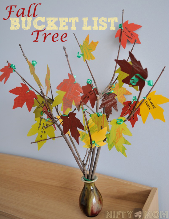 Fall Bucket List Tree with Leaf Printable and List Ideas