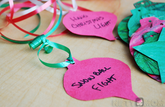 Christmas Bucket List Ornaments with Printables