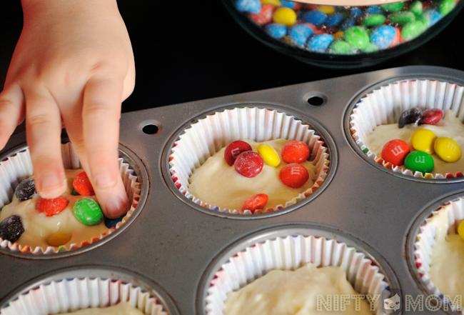 Making M&M Cupcakes