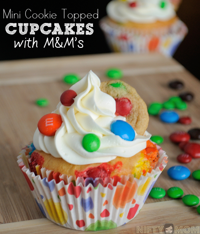 Mini Cookie Topped Cupcakes with M&M's Recipe