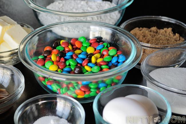 Ingredients for Mini M&M Cookies