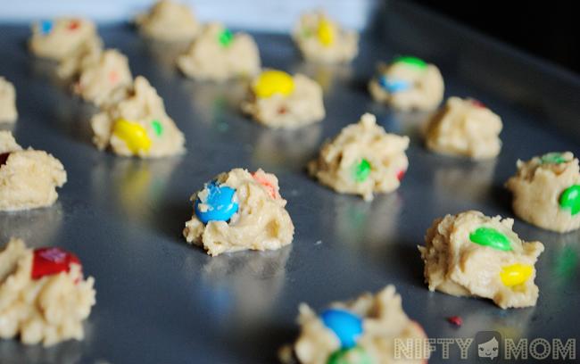 Making Mini M&M Cookies