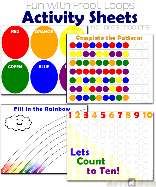 printable froot loops activity sheets for preschoolers