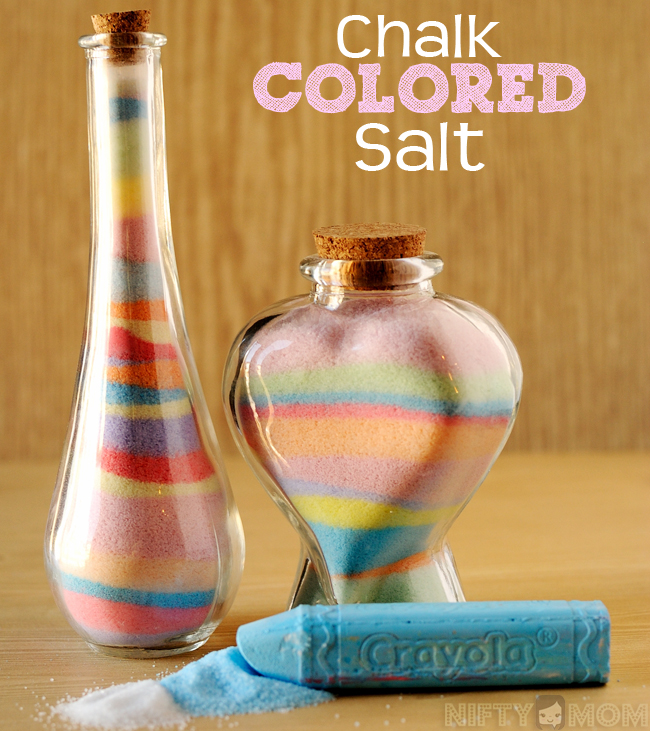 DIY Color Salt (with Chalk) for Faux Colored Sand - Do with the little ones for gifts!