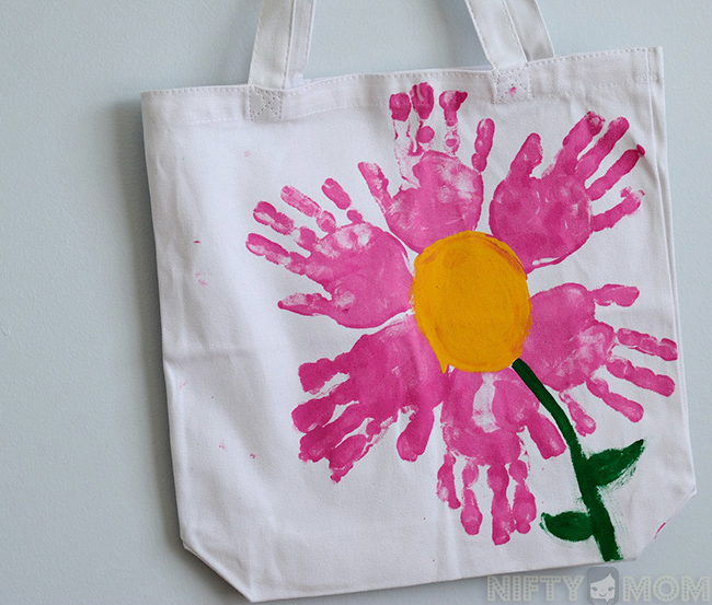 Handprint Flower Tote Bag DIY Gift