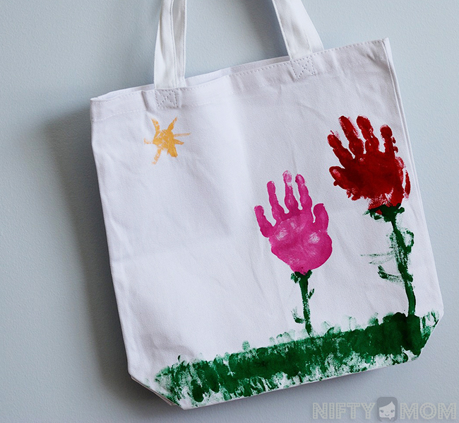 Handprint Flowers Tote Bag - Mother's Day Gift from Kids