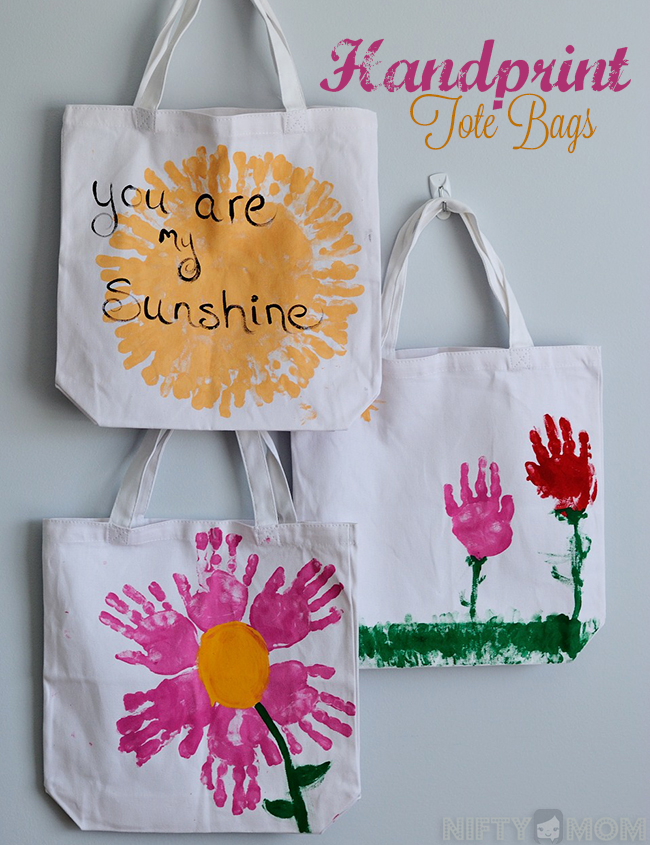 Handprint Tote Bags - East Homemade Gift Idea Easy for Kids to Make