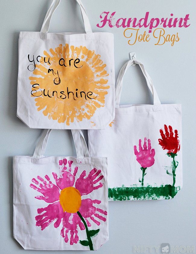 Handprint Tote Bags for Mother's Day Gifts from Kids