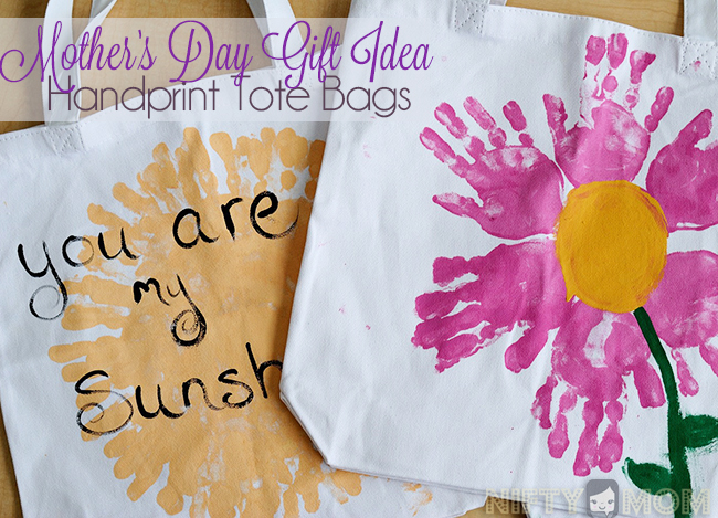 Mother S Day Gift Idea Hand Print Tote Bags