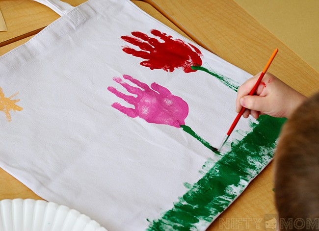Making a Handprint Flower Tote Bag