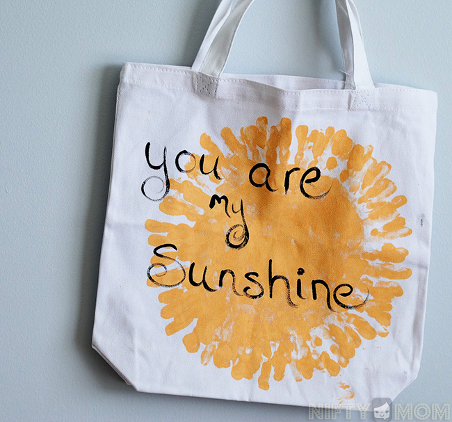 Sunshine Handprint Tote Bag - Mother's Day Gift Idea