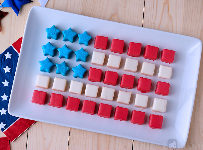 Patriotic Petits Fours made with Pound Cake & Melted Icing
