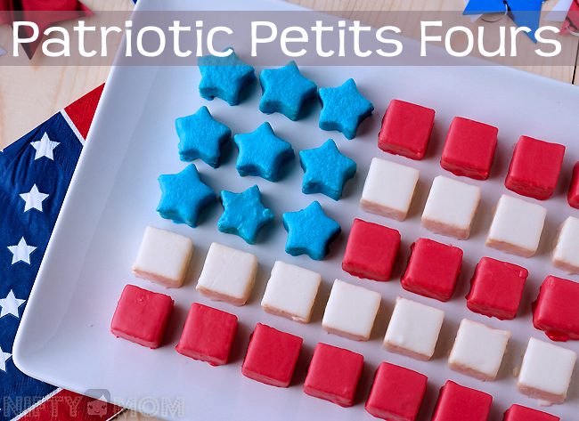 Easy 4th of July Dessert - Petits Fours with Pound Cake