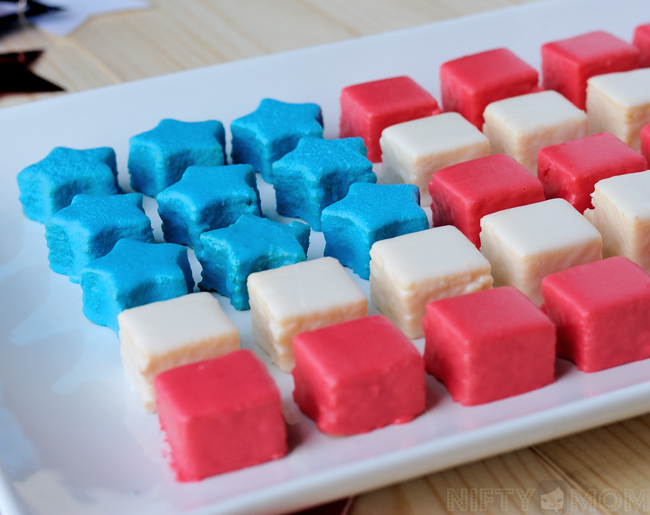 Easy Patriotic Petits Fours made with Pound Cake & Melted Icing