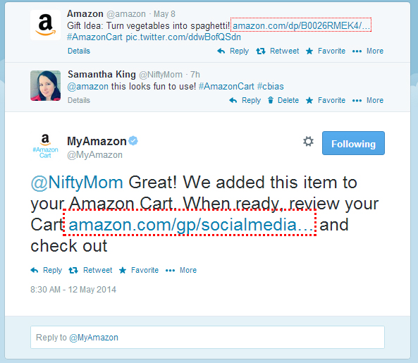 Using #AmazonCart of Twitter #shop