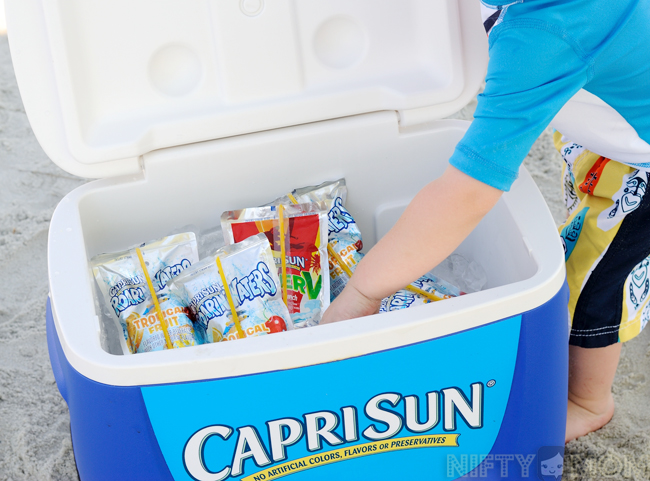 Stocked Capri Sun at the Beach #CapriSunMomFactor