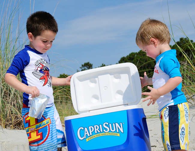 Drink Break at the Beach #CapriSunMomFactor