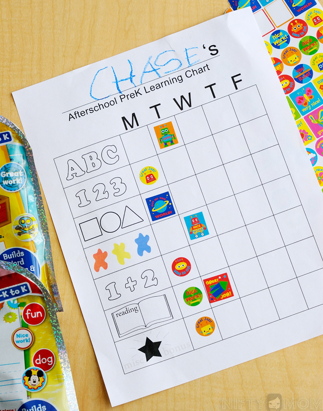 Afterschool Pre-K Learning Sticker Chart Printable #Ready4Preschool #shop