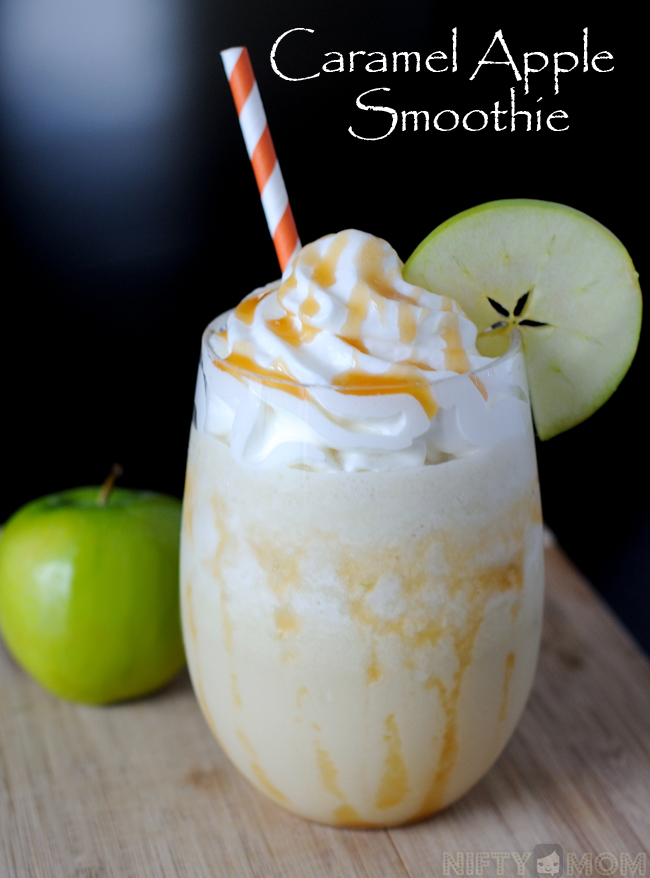 Caramel Apple Smoothie with Whipped Topping and Caramel Drizzle