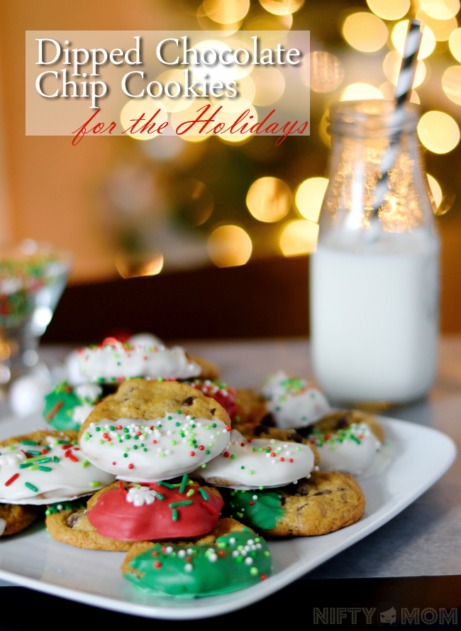 Dipped Chocolate Chip Cookies for the Holidays