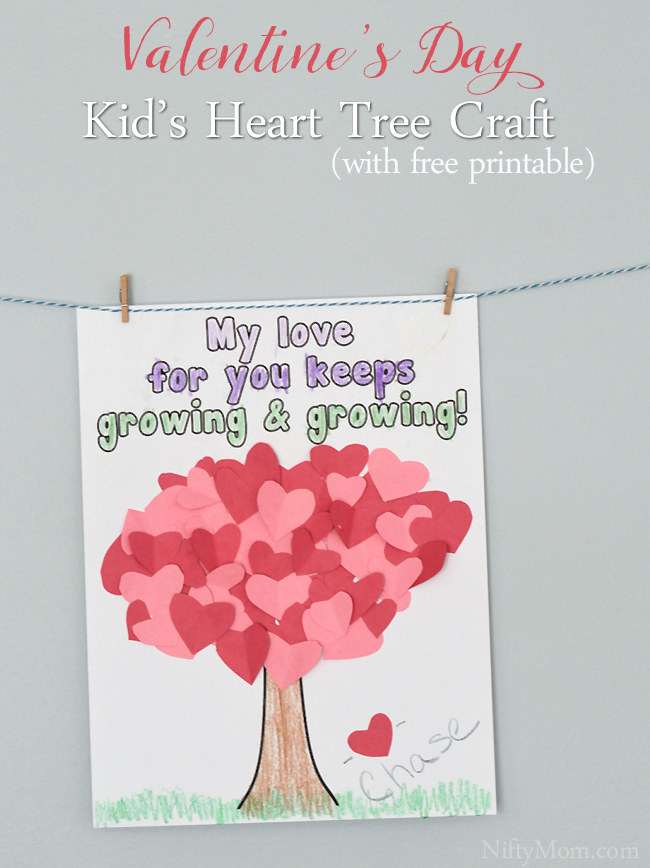 graphic about Printable Kid Valentines named Centre Tree Craft for Children Valentines Working day