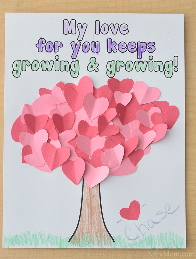 graphic about Printable Valentines Craft called Center Tree Craft for Children Valentines Working day