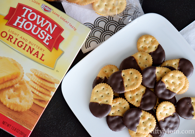 Town House Original Crackers Dipped in Melted Chocolate