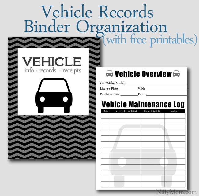 vehicle documents binder organization free printables