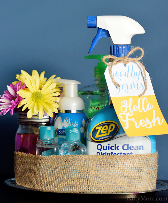 Cold & Flu Season Teacher Gift (or for a friend). Goodbye Germs. Hello Fresh. Free Printable Gift Tag. #ZepSocialstars