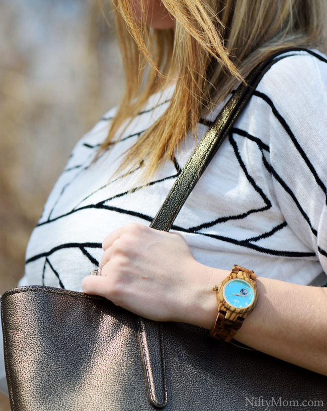 JORD Wood Watch - Cora Series Zebrawood & Turquoise