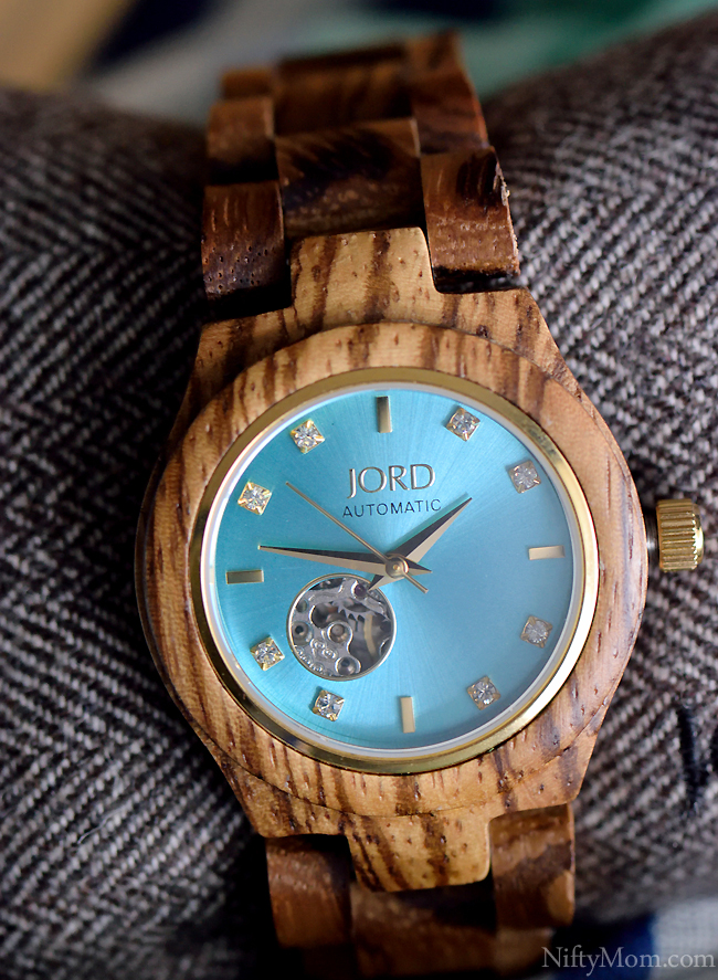 JORD Wood Watch CORA SERIES Zebrawood & Turquoise