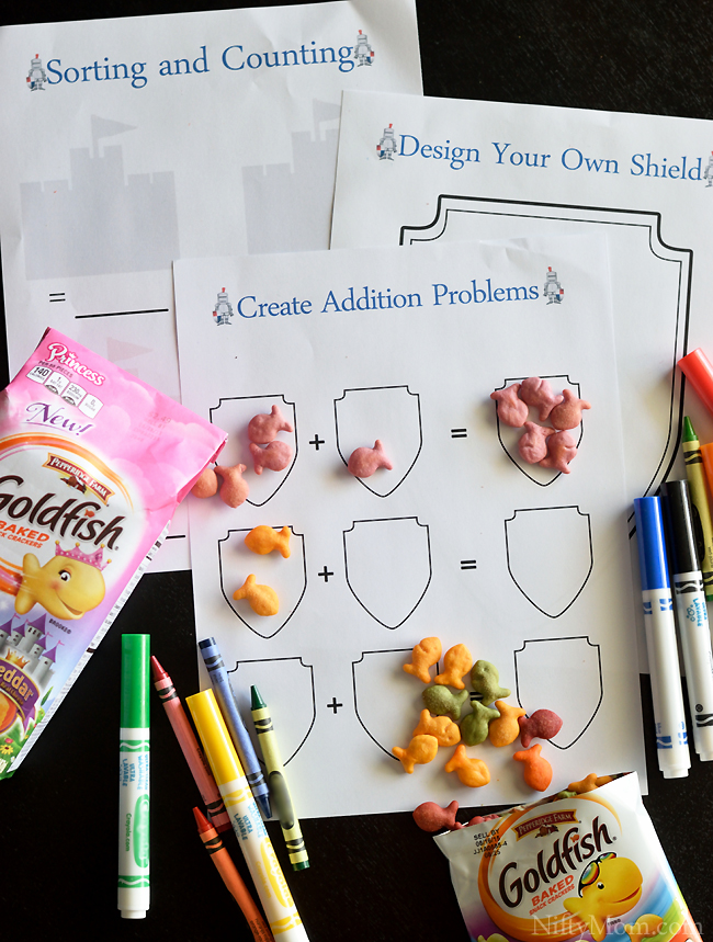 Knight Activity Sheets (free printables included) and Snack Time Ideas #GoldfishTales