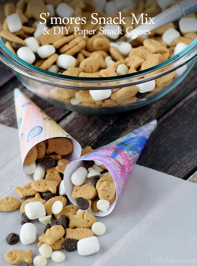 Easy S'mores Snack Mix & DIY Paper Snack Cones