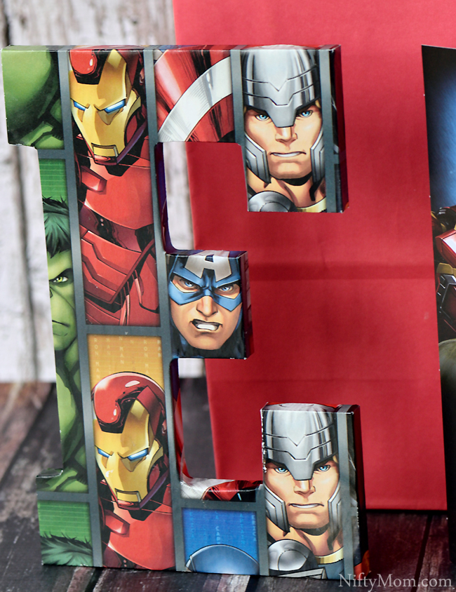 DIY Avengers Initial Sign Covered in Wrapping Paper #SendSmiles